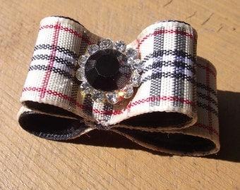 """Plaid Dog Hair Bow 5/8""""  OR 7/8"""" yorkie maltese shih tzu dog hair bow dog show bow puppy hair bows"""