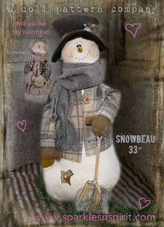 "Doll Kit: ""Snowbeau""  Snowman kit for doll pattern by Sparkles n Spirit"