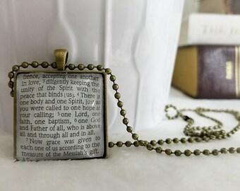 One body and one spirit bezel necklace/Pendant necklace/Gift for Her/Gift for mom/Gift for Wife/Christian Jewelry/Vintage Jewelry/Custom