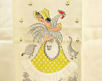 Vintage Tea Towel Farm Girl Towel With Chicken Kitchen Mid Century Tea Towel Farmhouse Chic Rooster Decor Rooster Kitchen Appliqued Towel