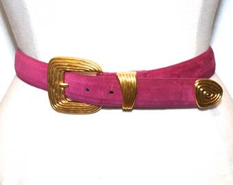 Pink Suede Leather Belt,Vintage Danier Leather Canada,Hot Pink Belt,80s Leather Suede Belt with Ornate Buckle,Size Small Belt,Magenta Belt