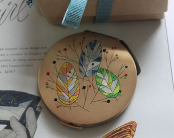 Stratton Hot Pastels Leaf Design.  Glamorous Compact Mirror  c1950's. Presented in gift box with organza gift bag.