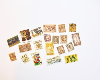 13 Golden and Brown-Themed Vintage Used Stamps |Vintage Postage |Postage Stamps| Vintage Styling Props |Vintage Wedding Stationery