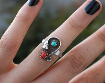Preloved Coral, Turquoise, Sterling solver Boho Ring Size 7