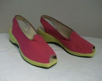 Best 1940s shocking pink and lime gabardine platform peep toe wedges US 6 1/2 / UK 4 1/2
