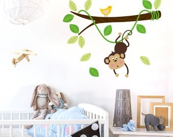 Monkey Hanging on a Branch Vine - Kids Vinyl Wall Sticker Decal Set - Nursery Sticker - Removable Wall Vinyl - Jungle Tree