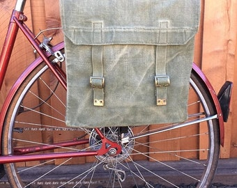 25% OFF British Military Surplus M37 Haversack OD Green Vintage Bicycle Pannier 40's-50's