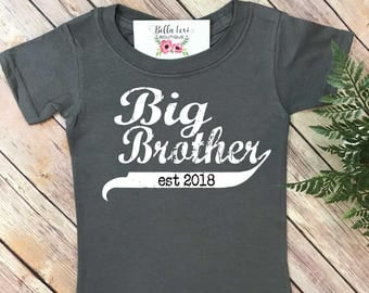 Big Brother Shirt, Promoted to Big Brother, Big Brother Gift, Pregnancy Reveal, Baby Announcement, Big Brother Reveal, Big Brother Est,