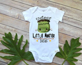 Halloween, Personalized Monster Shirt, Frankenstein Baby, Cutest Little Monster, First Halloween, Monster Theme, Trick or Treat,Personalized