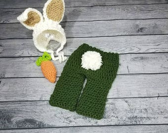 Boy bunny outfit - Boy Easter Outfit - Baby Bunny Hat - Newborn Bunny Hat - Baby Bunny Outfit - Baby Easter Hat - Bunny Bonnet - Easter Hat