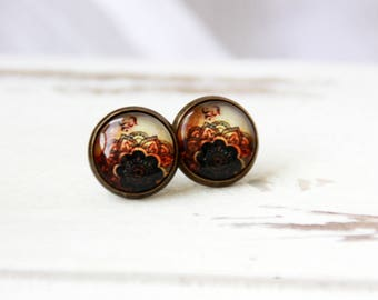 12 mm Stud Earrings, flower, boho, abstract, stud earrings, brown stud earrings