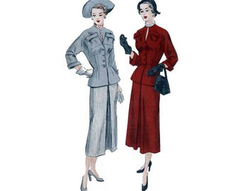 Women's Suit Dress Sewing Pattern, Fitted Jacket, Slim Skirt, Misses Size 18 Bust 36 PRE-CUT Vintage 1950's Vogue 6829