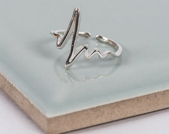Sterling Silver Loves Beat Adjustable Ring