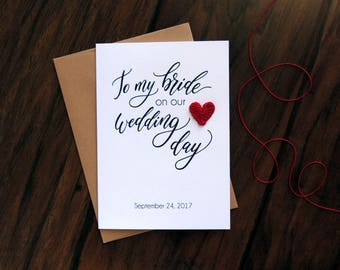To my bride on our wedding day card, personalized groom to bride card with crochet heart,