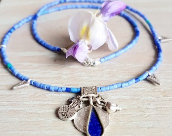 Cornflower Blue Beaded And Silver Charm Necklace