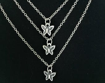 Three Tier Butterfly Pendant Necklace \\ Silver Jewelry \\ Silver Chain