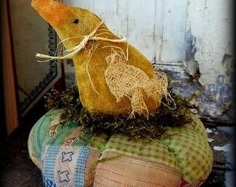Primitive Folk Art Little Chick *Easter* Spring Pincushion, PinKeep, Handcrafted, Vintage Patchwork Quilt, Home Decor, Easter Decor