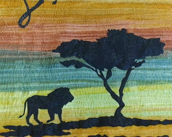 Baby Quilt for Boy, Animal Nursery, Lion Quilt, Safari Baby Blanket Personalized, Modern, Handmade Baby Quilt for Sale, Nursery Art