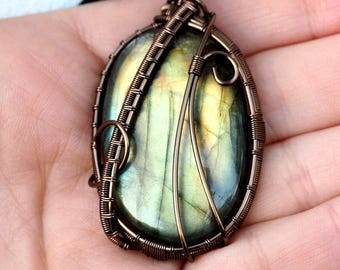 Light Green Labradorite Wire Wrapped Pendant/Gunmetal Wire Wrapped Handcrafted Jewelry Birthday Gift Anniversary Gift Girlfriend's Gift