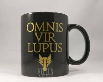Omnis Vir Lupus Coffee Mug | House Mars Sigil | Red Rising Series | Golden Son | Morning Star