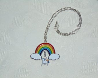 Coloful Rainbow with Unicorn charm necklace