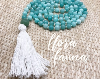 Light blue mala - beautiful hand knotted tassel necklace - from Flora Fauna Market