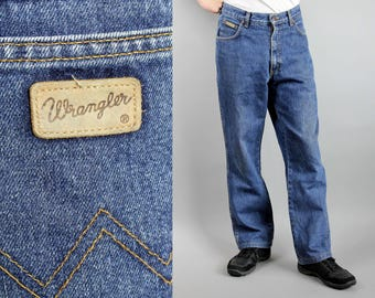 Vintage Wrangler Dark Blue Jeans, Men's Denim Pants, Unisex High Waist Straight Leg Hipster Jeans, 90 Street Wear Cotton Trousers, W34 L32