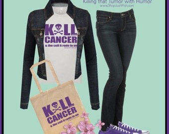 KILL CANCER & the cell it rode in on! Snarky Tote Bag - Keep killing that tumor w/humor, courage, strength, dreams, and fight!