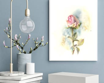 Pink Rose ORIGINAL Watercolor Painting, Painting of Single Rose, Modern Botanical Painting, Flower Painting by CanotStop