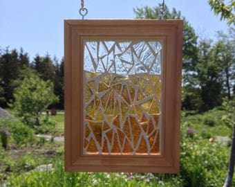 Yellow Ombre Stained Glass Suncatcher - Yellow Stained Glass Mosaic Abstract Sun Catcher - Amber glass Mosaic - Window hanging home decor
