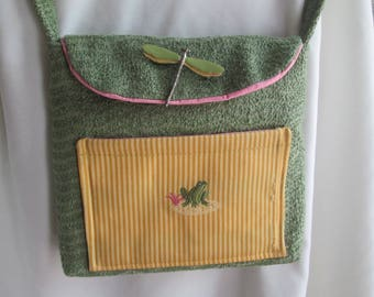 Shoulder Bag - Green with Pink Trim - Dragonfly Pin - Yellow Pocket - Gift for Her