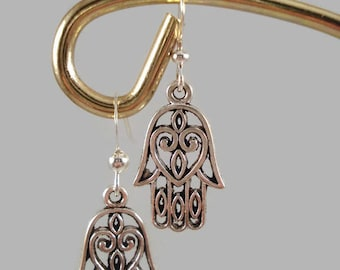 Hamsa Hand Silver Earrings Protection Good Fortune Luck Health Happiness