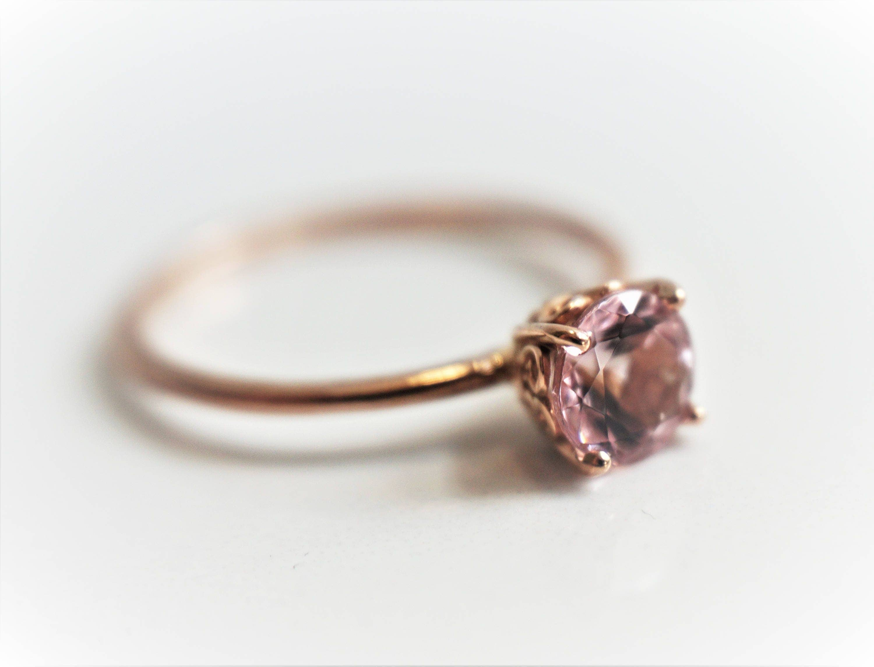 Slender Solitaire 6 mm Baby Pink Morganite Ring 14K Rose Gold