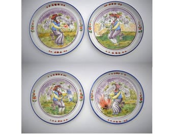 "Italian 'Four Seasons' Harvest Decorative Wall Plates, Set of Four, 9.75"" Hand Painted Ceramic Pottery, Old World Mediterranean Home Decor"