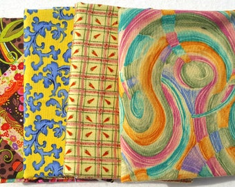 Fat Quarters. Collection of Four, Yellow, 100% Cotton, Quilting fabric Fat Quarters