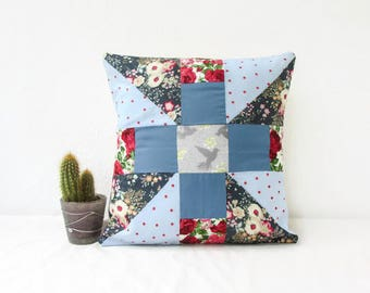 Modern patchwork pillow cover, blue floral cushion cover, girls nursery cushion small patchwork cushion, 12 inch cushion, handmade in the UK
