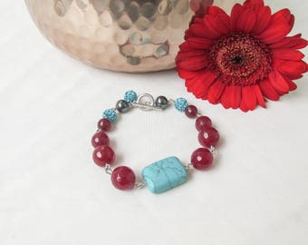 Semi precious gemstone bracelet, turquoise and ruby quartz, t bar bracelet, semi precious jewelry, Birthday gift, handmade in the UK