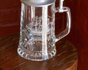 Vintage Alwe West German Etched Glass & Pewter Stein