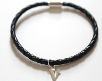 Leather Bracelet with Sterling Silver Typewriter V Letter Charm, Bracelet with Silver Letter V Pendant, Initial V Charm Bracelet, V Bracelet
