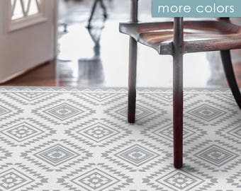 Printed PVC Carpet, Vinyl Floor Mat, Linoleum Rug, With Ethnic Kilim  Pattern,