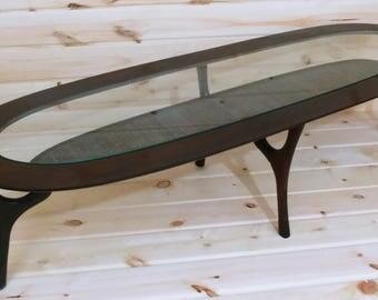 Teak Wood, Rattan And Glass Double Decker Mid Century Modern Danish  Surfboard Style Oval Low
