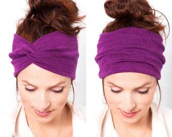 Purple Knit Turban Yoga Headband Purple  Headband Purple  Turban Womens Hair Accessories Knit Hat Winter Hat Gift Idea Knit Accessory Chemo