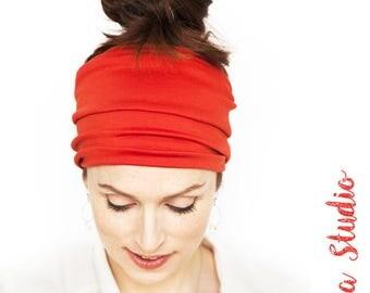 Namaste Red Orange Headband Wide Headband Yoga Headband Boho Headband Running Headband Womens Hair Accessories Nonslip Headband