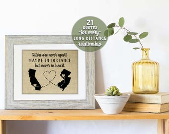 Long Distance Sister Gift, Christmas Gift for Sister, Gift from Sister, Far Away Sister, Sister Map, Sister Birthday Gift, Two Map Print