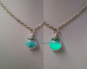 Glow in the Dark Blue Small Glass Bottle Charm Necklace on Silver Crossed Chain. UV, Costume, Dainty