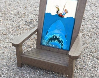 JAWS print in a beach chair frame