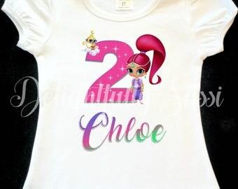 Shimmer Birthday Shirt, Birthday Shirt, Personalized Shirt, Personalized Birthday Shirt, Shimmer and Shine Birthday Shirt, Girls Shirt