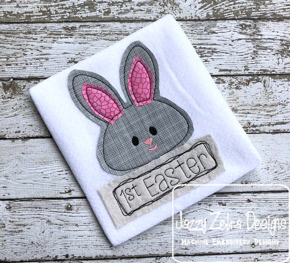 1st Easter Shabby Chic applique embroidery design - 1st Easter appliqué design - easter applique design - bunny appliqué design - baby