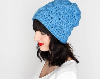 Slouchy Beanie, Chunky Knit Hat {The Madison} in Sky Blue