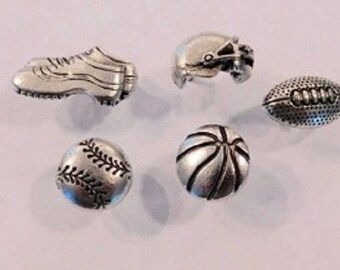 Sports Theme Push Pins 15pc set Antique silver
